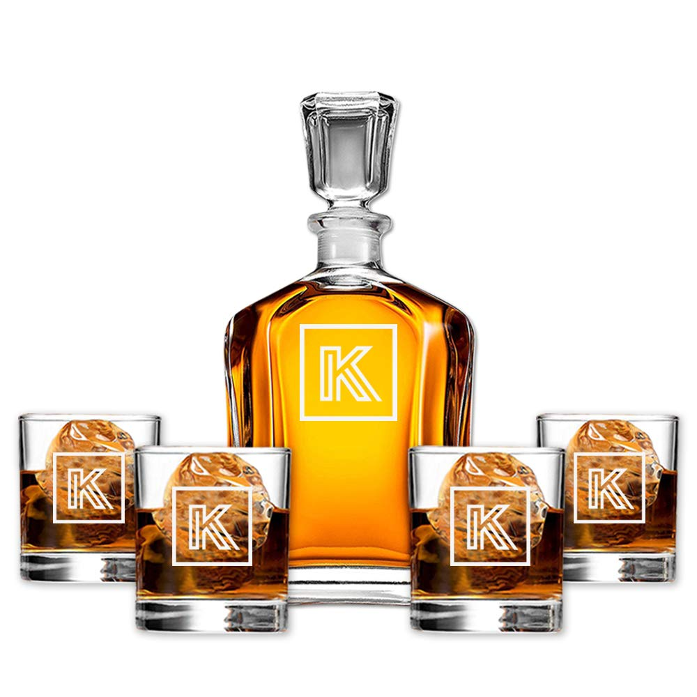 Personalized 5 pc Whiskey Decanter Set - Decanter with 4 Glasses - Custom Initial Engraved Design for Bourbon Lovers
