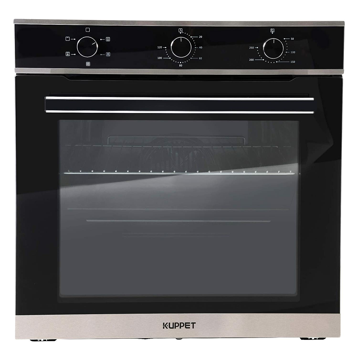 "KUPPET 24"" Electric Single Wall Oven with 5 Functions, Tempered Glass, Push Button Controls, Built-In or Under-Couter, Faster Cooking Convection E750200-H1"