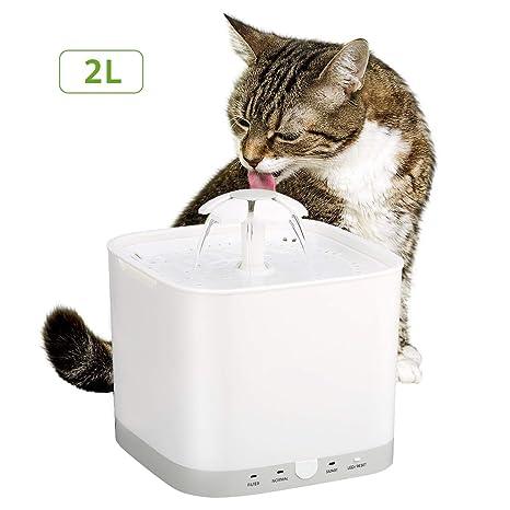 Fuente de Agua Automática para Mascotas Silencia Dispensador de Agua Inteligente Fuente Gatos (Fuente 2L