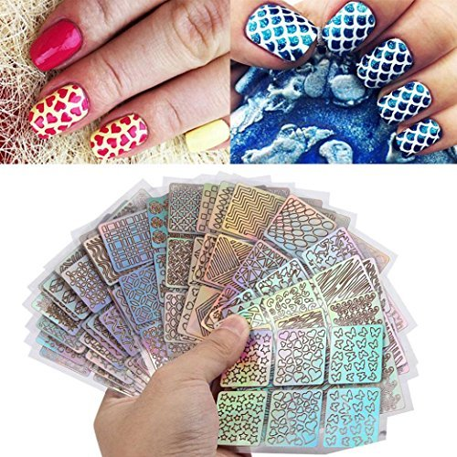 Muxika 24 Sheets New Nail Hollow Irregular Grid Stencil Reusable Manicure Stickers Stamping Template Nail Art Tools ()