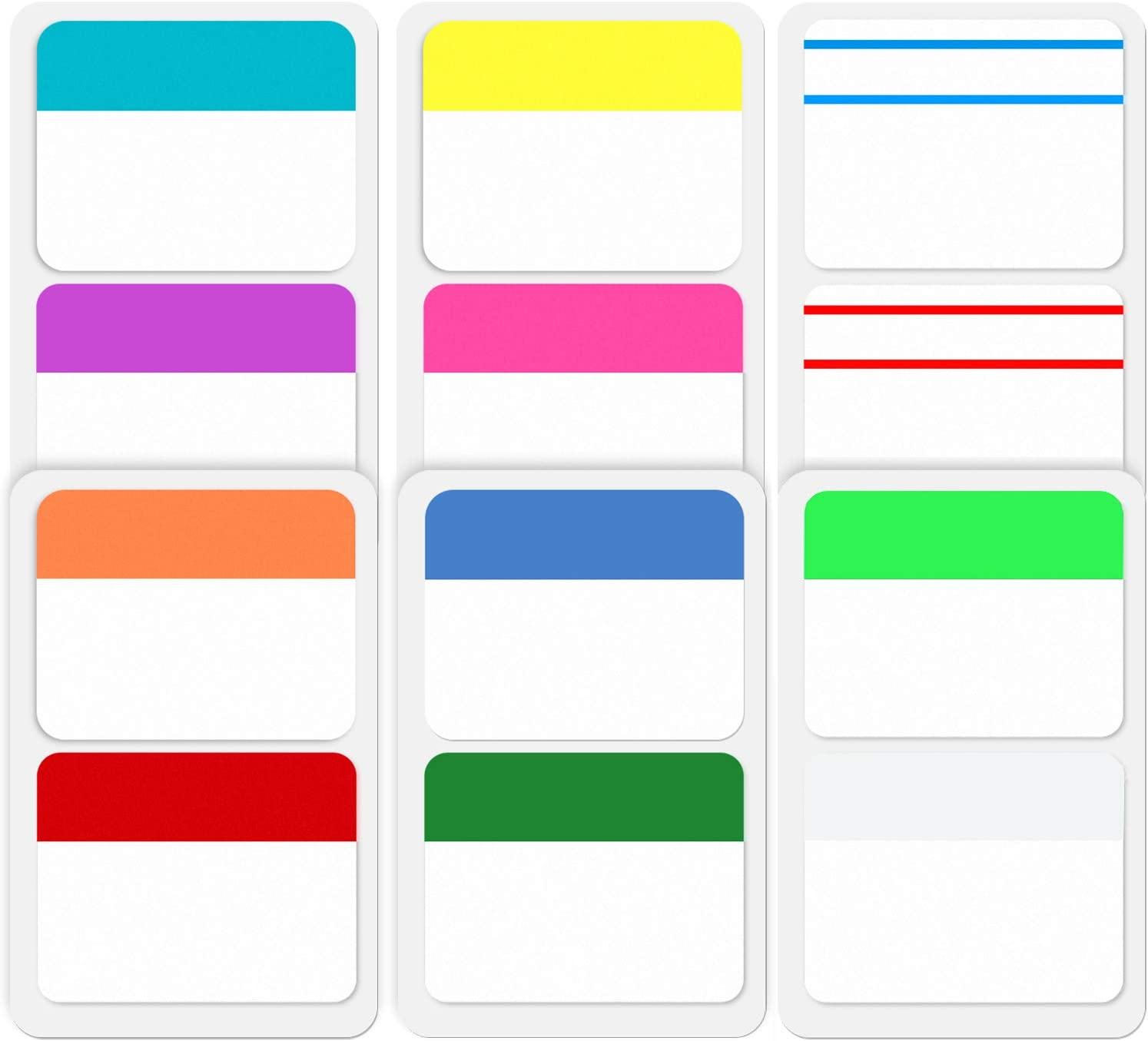 ExcelFu 240 Pieces 2 inch Index Tabs Flag Dispensers Sticky Page Markers Colored Tape for Binders, Books, Notebooks and File Folders