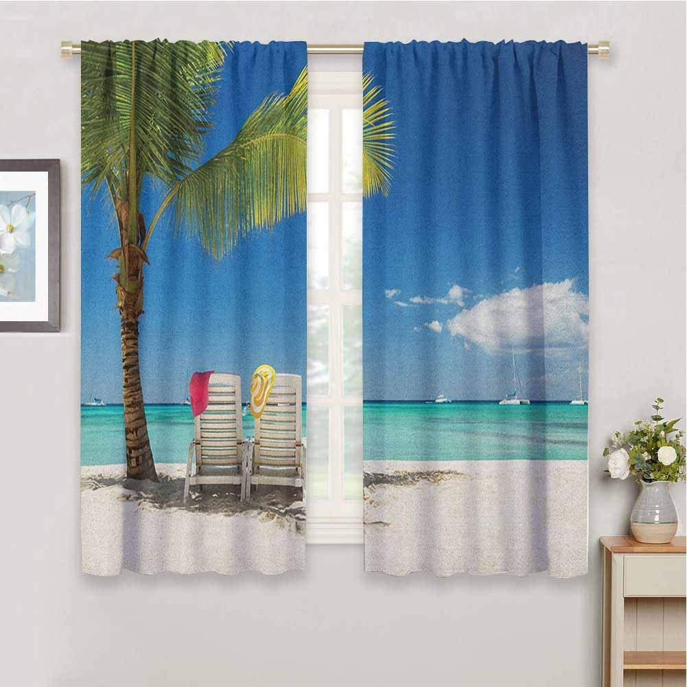 Landscape Grommet Outdoor Curtain Beach Seashore with Palm Trees Sand Waves Holiday Relaxing Photo Home Fashion Machine Washable Cream Blue Turquoise Green W54 x L63 Inch