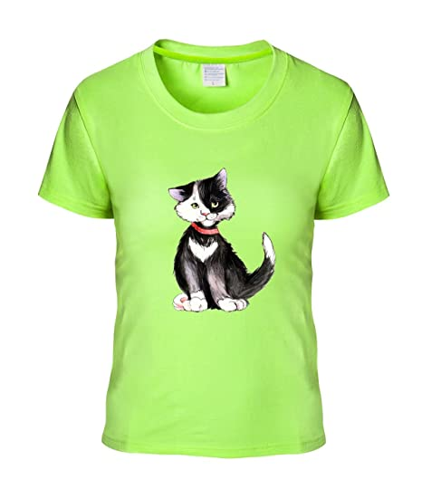 Amazon Com Cartoon Cat Neongreen Womens Or Girls Short Sleeves T