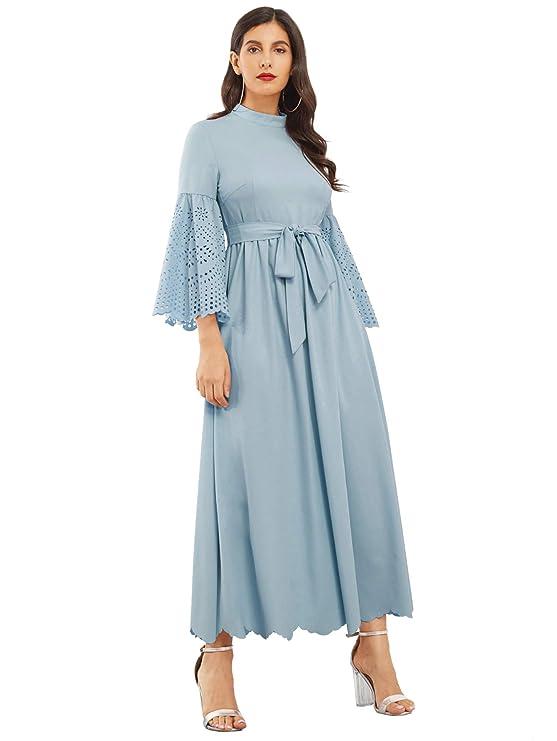 5b2434bf69 Milumia Women's Scalloped Laser Cut Flounce Sleeve Hem Self Belted Maxi  Dress at Amazon Women's Clothing store: