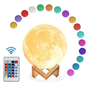 Mydethun Moon Lamp 16 Colors LED 3D Print Cool Moon Night Light with Stand Remote Touch Control and USB Rechargeable Gift for Women Baby Kids Birthday Party Home Décor(5.9 Inch with Wood Base)