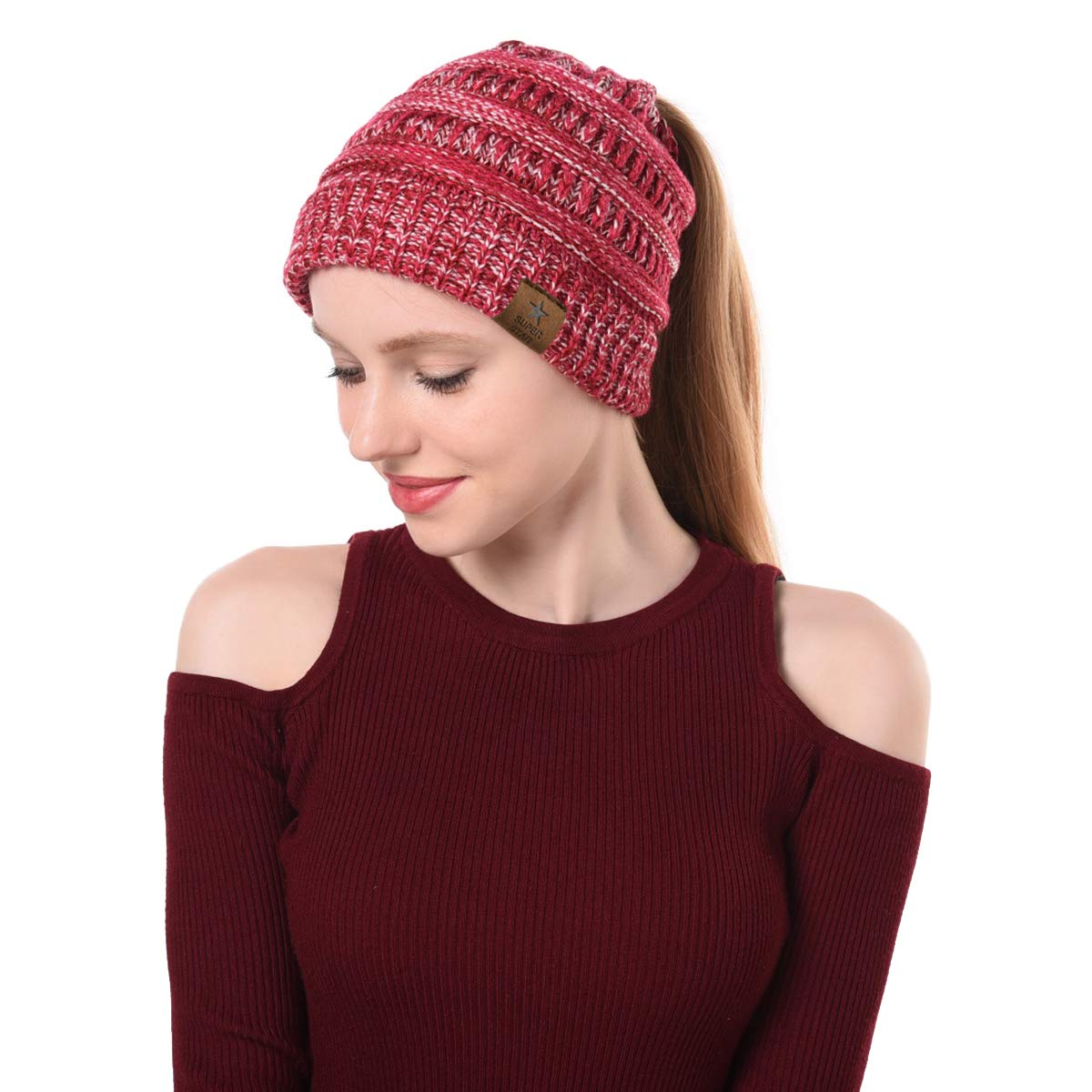 Zando Women s Soft Stretch Chunky Cable Knit Winter Warm Cap Messy  BeanieTail High Bun Ponytail Slouchy Beanie Hat 1 Pack Rose Red White 3f37fe95b145