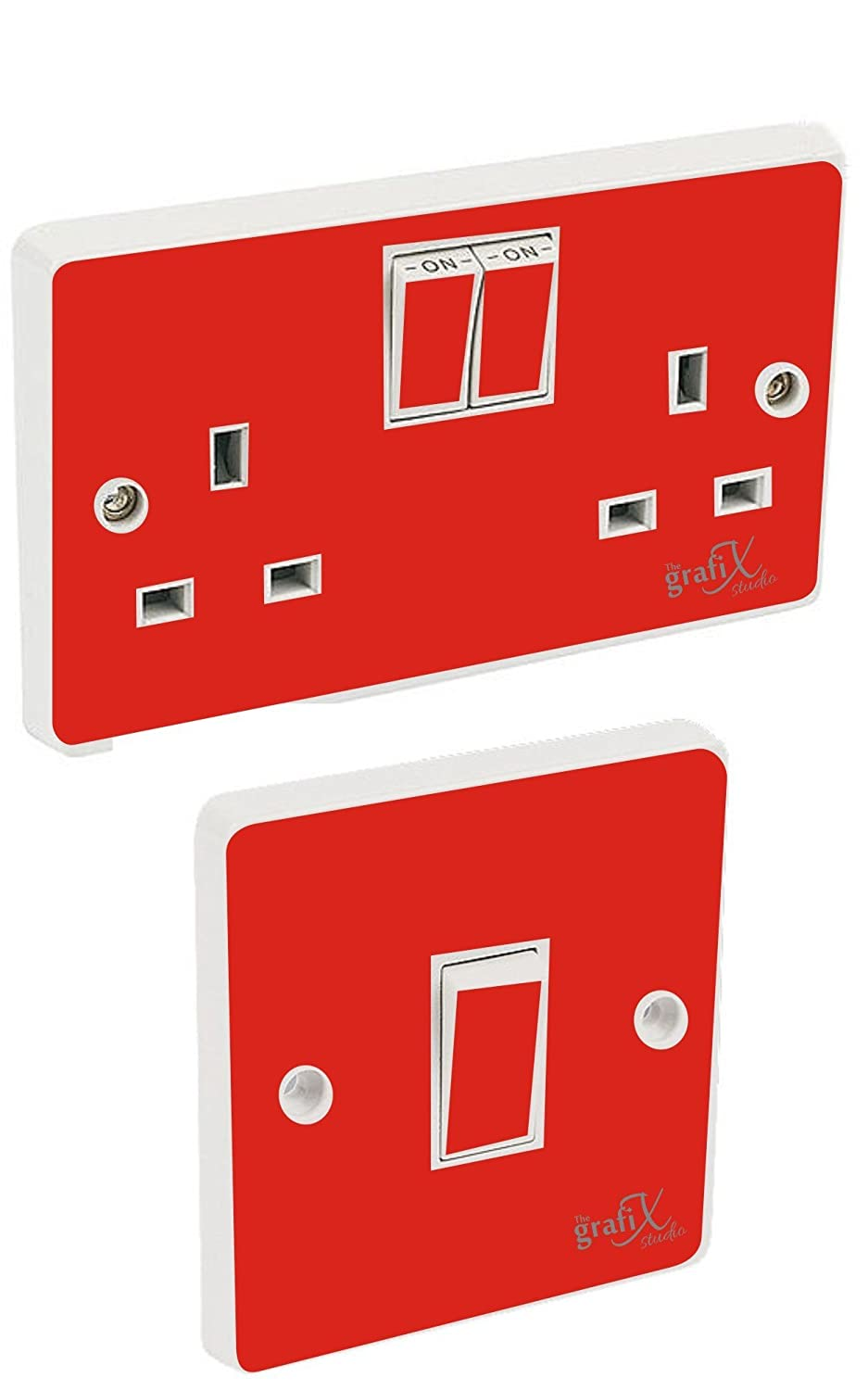 the grafix studio Red Gloss Light Switch & Double Socket Sticker Vinyl/Skin cover EXPSFD010907