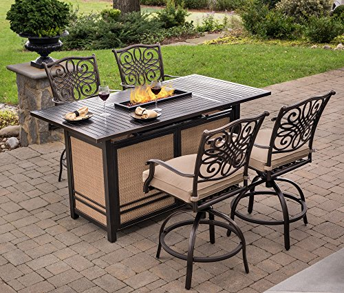 Hanover TRAD5PCFPBR Traditions 5-Piece High Set in Tan with 4 Swivel Chairs and a 30,000 BTU Fire Pit Dining Table Outdoor - Dining Chair Fire Patio Pit