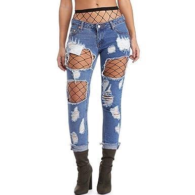 Pantalones De Mujer Moda De Mujer Vaqueros Pantalones Ropa ...