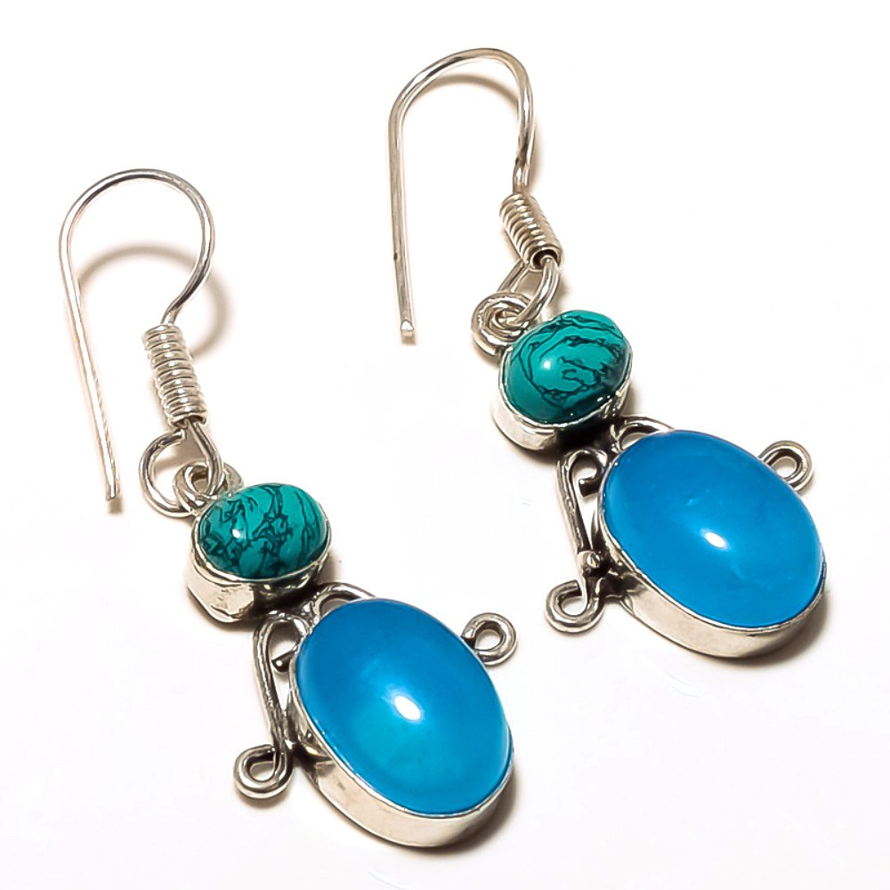 Turquoise Sterling Silver Overlay 6 Grams Earring 1.5 Handmade Jewelry Delicate Blue Chalcedony