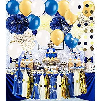 Royal Pince Baby Shower Decorations Navy Gold Bridal Tissue Pom Latex Ballons Tassel Garland Polka Dot Poms For Boy First