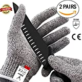 XDEER Cut Resistant Gloves - Food Grade Level 5 Protection, Safety Kitchen Cuts Gloves for Oyster Shucking, Fish Fillet Processing, Mandolin Slicing, Meat Cutting and Wood Carving, 2 Pair (M*2)