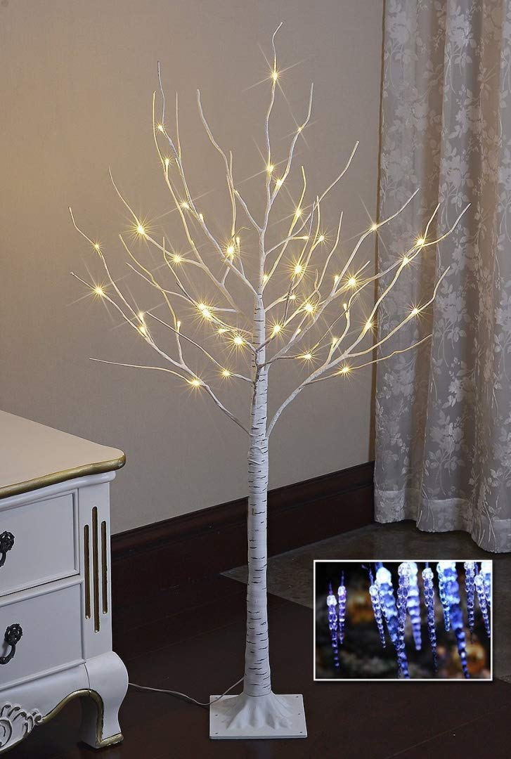 Lightshare 4FT 48L LED Birch Tree,Warm White EBHS4FT