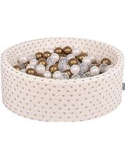KiddyMoon 90X30cm/300 Bolas ∅ 7Cm Piscina De Bolas para Ninos Hecha En La UE, Ecru-Dorado:Dorado/Transparente/Perla