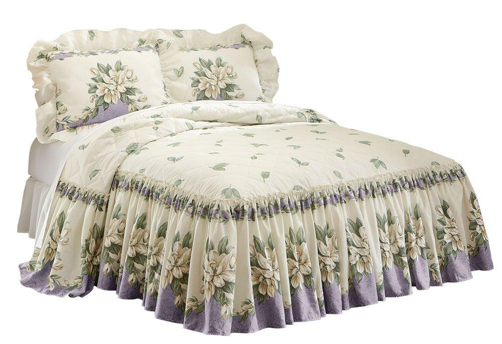 amazoncom magnolia garden floral ruffle skirt lightweight bedspread sage queen home u0026 kitchen
