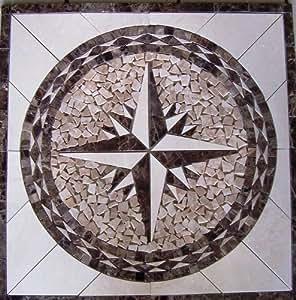 Tile Floor Medallion Marble Mosaic Star Design 36x36