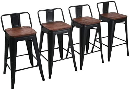 Amazon Com Yongchuang 26 Metal Barstools Set Of 4 Counter Height Bar Stools With Back Wooden Top Low Back Matte Black Kitchen Dining