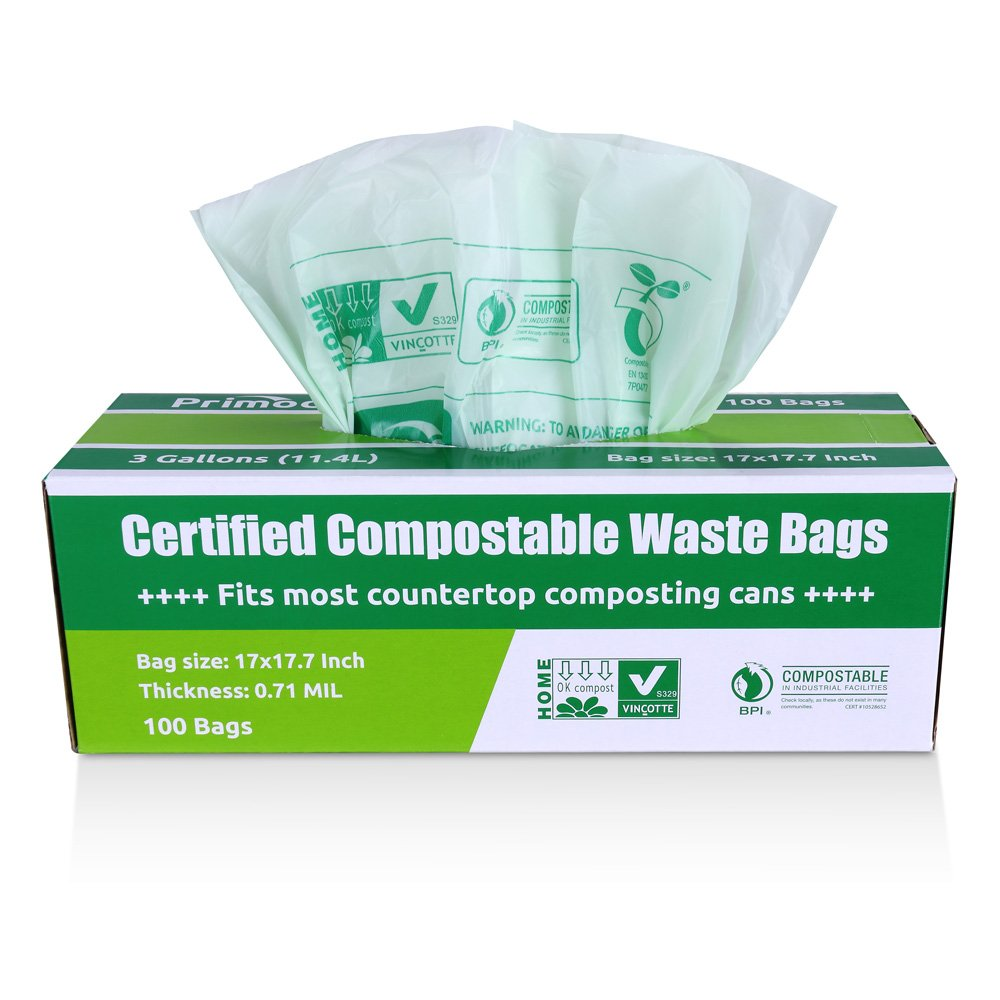 100 Pack Trash Bags Compostable Biodegradable Green Small Kitchen Trash Bags