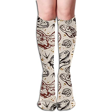 10bb1dab126 Amazon.com  Tube Knee High Socks 50CM Dinosaur Skeleton Men s Over-The-Calf  Tube Sports Socks Extra Long Compression Stocking  Sports   Outdoors