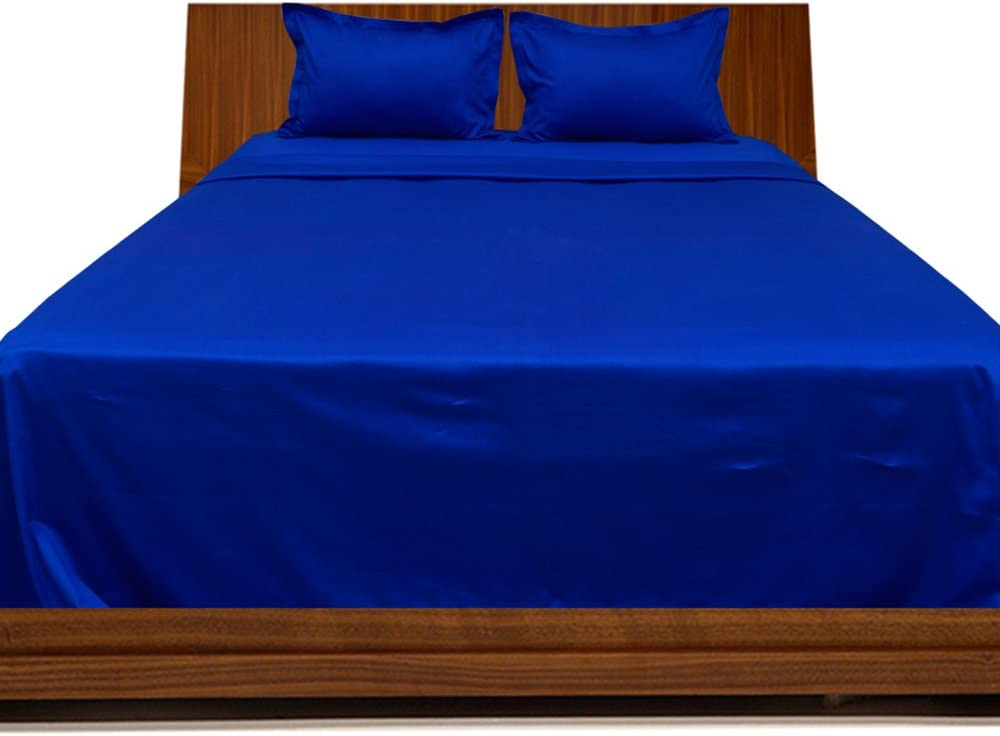 Relaxare Full 300TC 100% Egyptian Cotton Egyptian Blue Solid 4PCs Sheet Set Solid (Pocket Size: 19 inches)