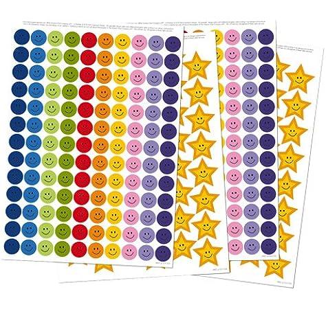 Amazon Com Reusable Extra Reward Stickers For Rewarding Good Behavior And Positive Reinforcement Star Stickers Reward Stickers 356 Stickers In Total 260 Smiley Face Stickers And 96 Gold Star Stickers Kitchen Dining