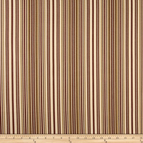 Burgundy Cotton Fabric (Ansley Home Decor Cotton Duck Stripe Cream Red Fabric By The Yard)
