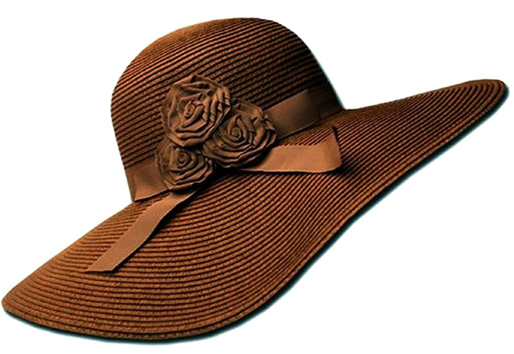 Sakkas Womens UPF 50+ 100% Paper Straw Ribbon Flower Accent Wide Brim Floppy Hat 5055460131172
