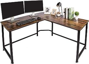 """TOPSKY L-Shaped Desk Corner Computer Desk 55"""" x 55"""" with 24"""" Deep Workstation Bevel Edge Design (Industrial/Rustic Brown)"""