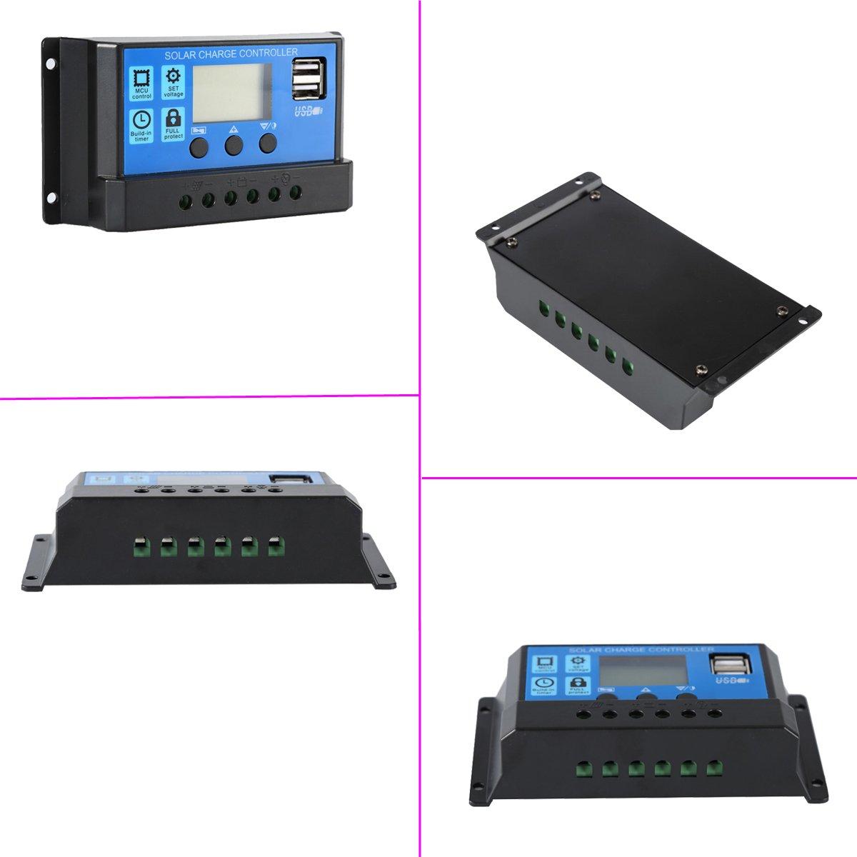 Pwm Solar Panel Charge Controller 12v 24v Voltage Controllersolar Generator 220v Portablesolar Regulator 10a By Easun Power Usb Port Lcd Garden Outdoor