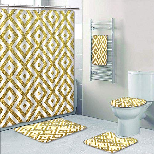 (Bathroom 5 Piece Set Shower Curtain 3D Print Customized,Gold and White,Sand Like Geometric Rectangular with Inner Details Lines Stripes Image Decorative,Yellow and White,Graph Customizatio)