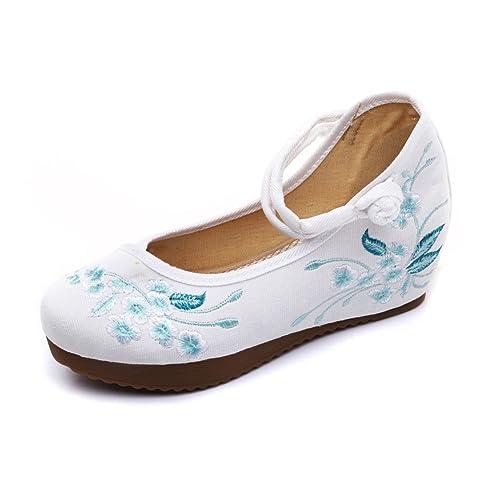 SK Studio Zapatillas Mocasín de Lona para Mujer en Estilo Chino YR32: Amazon.es: Zapatos y complementos