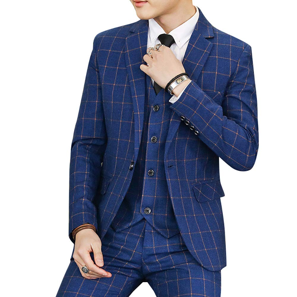「IMIVIO」メンズ スーツ フォーマルスーツ スーツセット 三点セット ビジネススーツ 大きいサイズ スーツセット ビジネス スリム スーツ スリーピース 結婚式 通勤 1つボタン フォーマル 細身 就活 B07H2DSM2R L31|T8202ネイビー T8202ネイビー L31