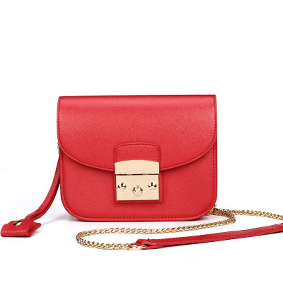 Women's Bag Shoulder Bag PU Solid Color Small Button Chain Beige Black Yellow Red Blue Orange Summer (Color : 1)