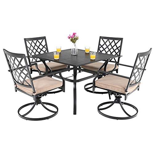 PHI VILLA Outdoor Patio Furniture 5 Piece Dining Set with 37 Larger Dining Table and 4 Swivel Arm Chairs