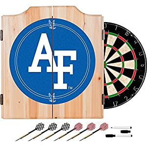 US Air Force Academy Deluxe Solid Wood Cabinet Complete Dart Set - Officially Licensed!