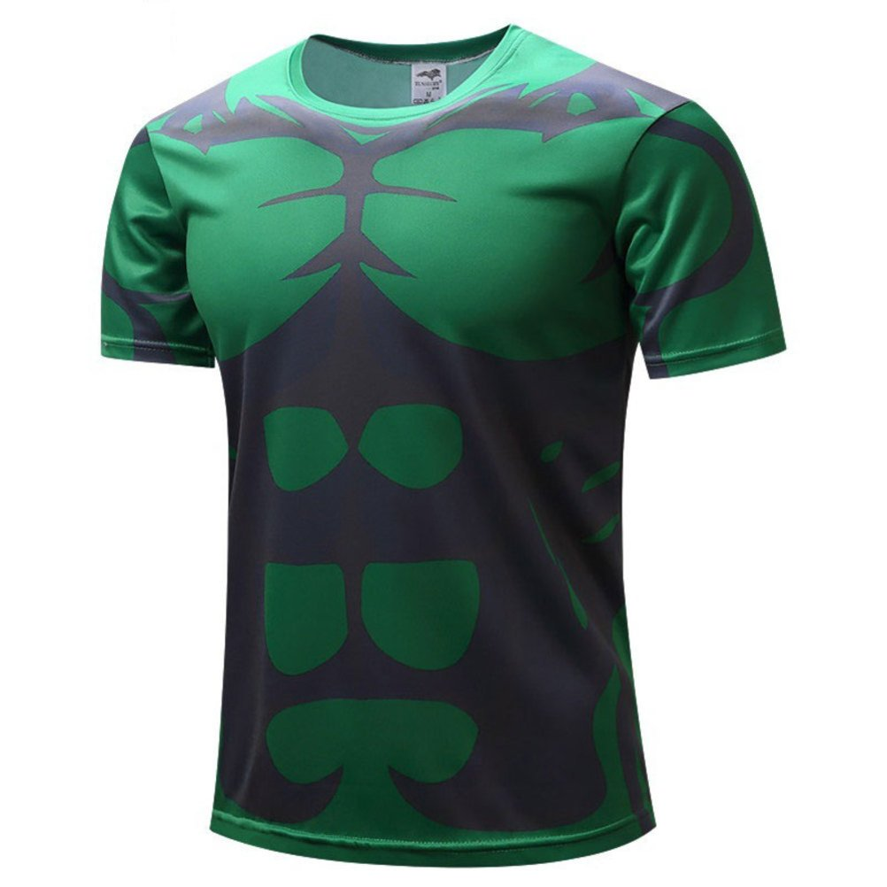Men's Slim Dri Fit Running Tee,Super Hero Incredible Hulk Workout Shirts XS