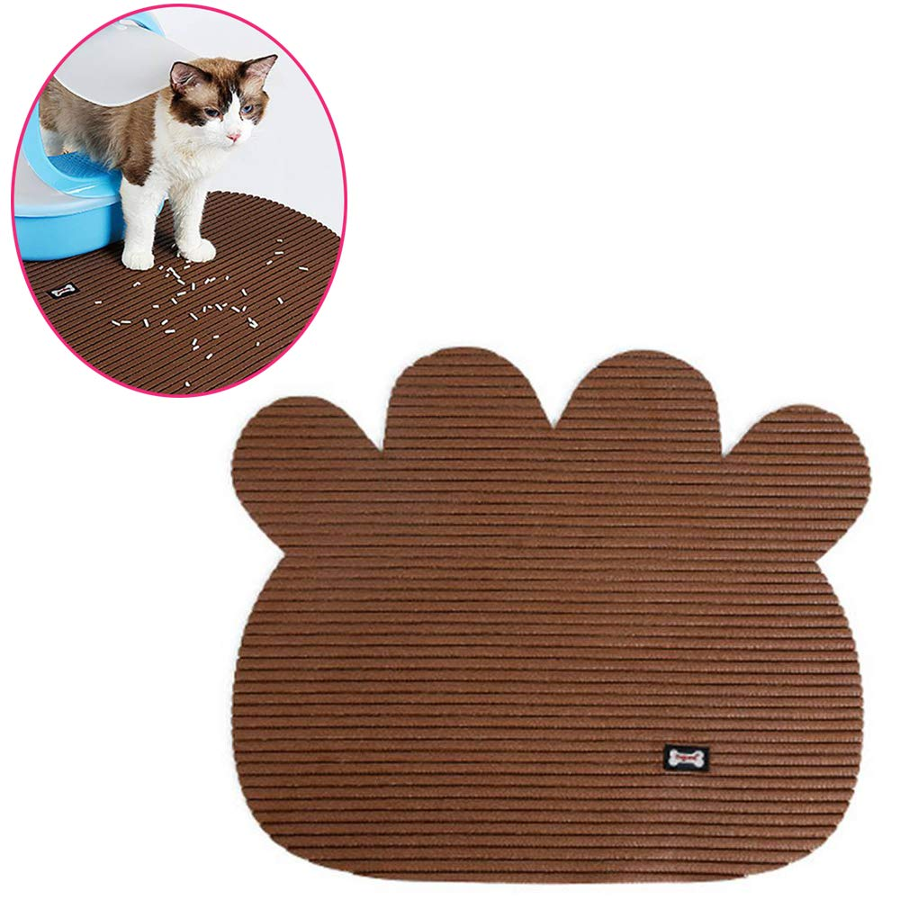Non Slip Cat Litter pad Litter Lock Mat Cat Litter Trapping Mat Pet Food Mat,Brown