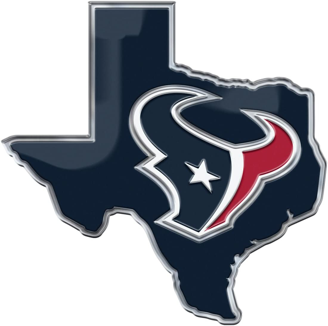 Amazon Com Fanmats Nfl Houston Texans Team State Aluminum Emblem Team Color One Size Sports Outdoors