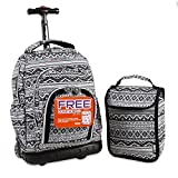 J World New York Lollipop Kids' Rolling Backpack with Lunch Bag, Tribal