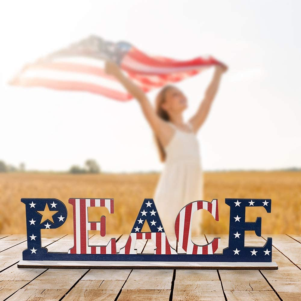 Wooden Independence Day Home Table Decoration, Patriotic Decorative Plaque 4th of July American Flag Letter Sign Table Dinner Room ,Memorial Day, Election National Day Decor (Peace)