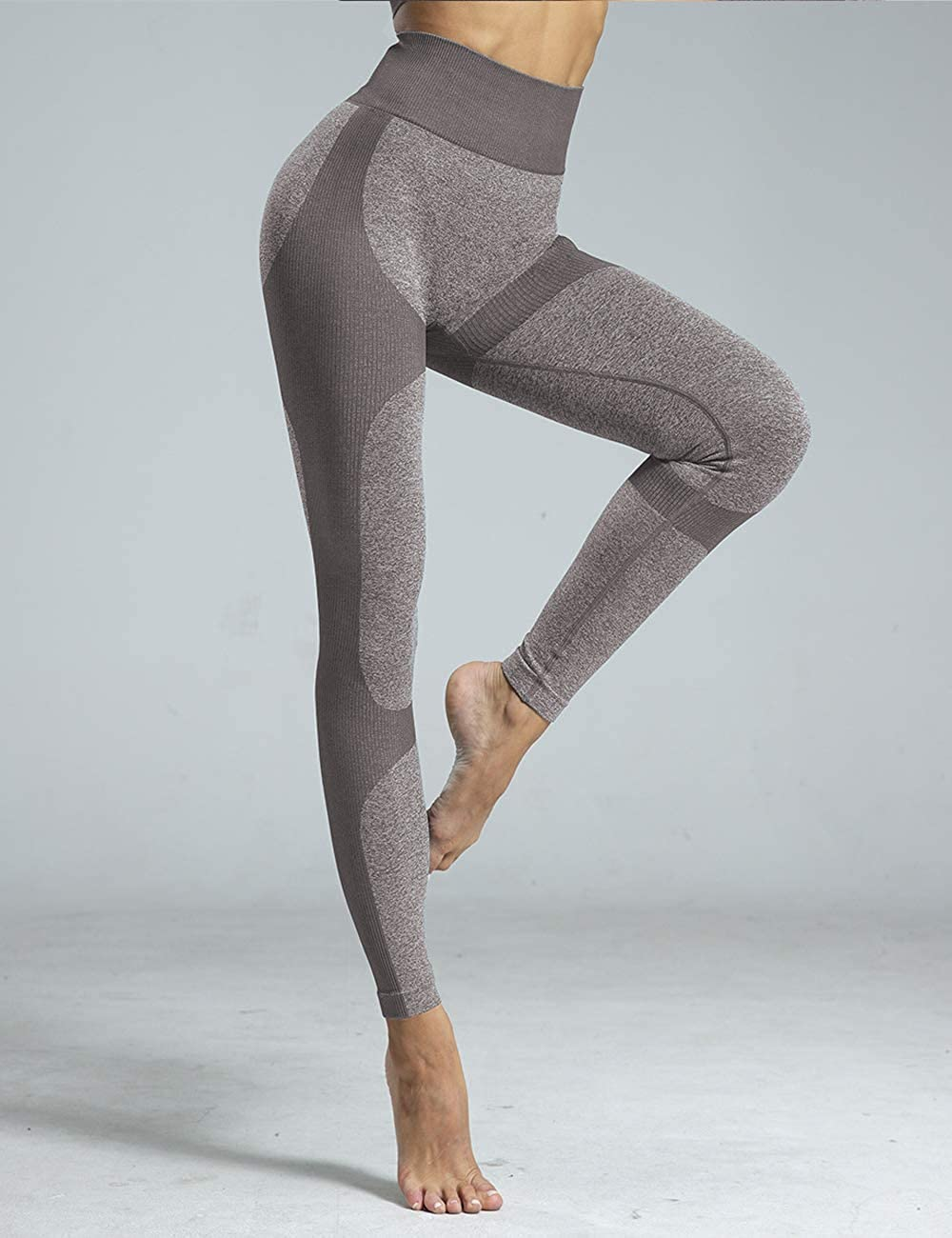 Workout Leggings for Women Seamless Knit with Wide Waistband and 4-Way Stretch for Butt Lift and Tummy Control