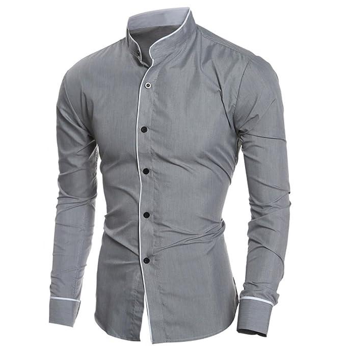 eadc2ed9d885 Herrenhemd T-Shirt,Dasongff Mode Freizeithemd Persönlichkeit Männer Hemd  Casual Slim Langarm-Shirt Tops Bluse Hemden Hemd Businesshemd  Amazon.de   ...
