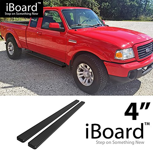 "Off Roader for 1999-2011 Ford Ranger/Mazda B-Series Super Cab Pickup 4-Door (Nerf Bar | Side Steps) 4"" Black Eboard Running Boards"