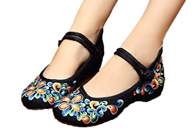 New Women Chinese Traditional Embroidered Shoes Black 8.5