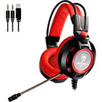 NUBWO Gaming Headset with Microphone for PC Games Over Ear Computer Headphones USB Red 3.5mm Skin-Friendly Earpads Gamer Headset with Led Light & in-line Volume Control (Red)