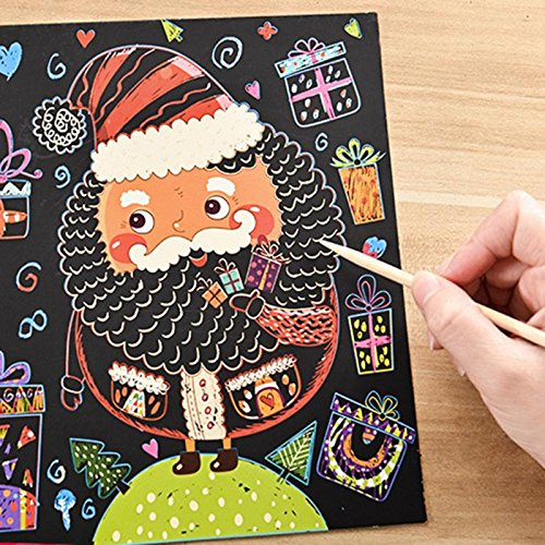 GreenSun TM 6 Sheets/Set Colorful Christmas Type Scraping Painting Paper Toy DIY Cartoon Snowman Xmas Tree Scratch Drawing Paper (Snowman Coloring Sheet)