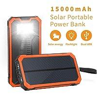 Elzle Portable Solar Power Bank with Dual USB Ports & Flashlight (Orange)