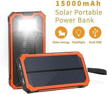 Elzle Portable Solar Power Bank with Dual USB Ports & Flashlight