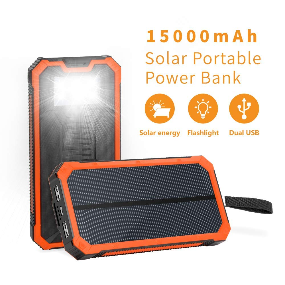 Solar Charger 15000mAh, Elzle Portable Solar Power Bank Dual USB Backup Battery Pack Charger, Outdoor Solar Phone External Battery Charger with 6 Led Flashlight for iPhone Series, Smart Phone, More by elzle
