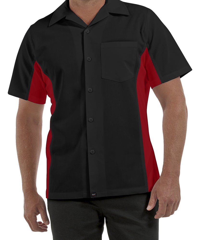 ChefUniforms.com Men's Kitchen Shirt with Mesh Sides (XS-5X, 2 Colors) (X-Large, Black/Red)